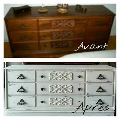 Before / after  chalk paint pure white/old white dresser / shabby chic/ cottage chic Mixxy Design creation
