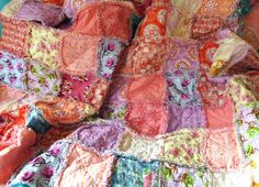 Beautiful rag quilt with soft raggy seams. See more photos and details here www.etsy.com/shop/WillSewForChocolate  Sold