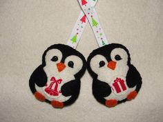 Wool Felt Penguin Ornament, Set of 2, Black Penguin, Christmas Ornament, Felt…