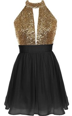 Halter Bomb Dress: Features an ultra-elegant halter neck design with a cleverly cut opening to the front, glittering gold bodice teamed with a sexy open back, and a twirl-worthy black A-line skirt to finish.