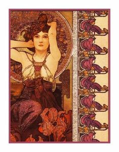 Amethyst by Alphonse Mucha Counted Cross Stitch or Counted Needlepoint Pattern