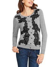 Look what I found on #zulily! Charcoal Lace-Appliqué Cardigan #zulilyfinds