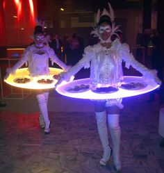 LED Walking, Strolling, Lighted Living talking Human Tables. From www.flamingfun.com
