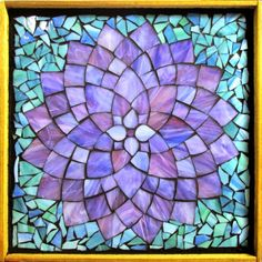 "Student Work - Framed Stained Glass Mosaic Dahlia 12"" x 12"" created by Lori in the Stained Glass Mosaic Flower Workshop with Artist Kasia Polkowska - Next Class May 3-4, 2014 in Montclair, NJ"