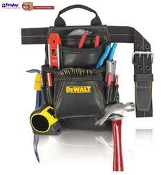 New Men Top Grain Leather Nail & Tool Belt Bag 10-Pocket Carpenter Belt Dewalt  #DewaltWorkGear