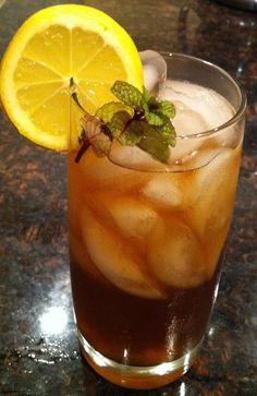 Spiked Arnold Palmer  a shot of sweet tea vodka, the rest half lemonade, half sweet tea...garnished it with sweet mint and a lemon...delish!