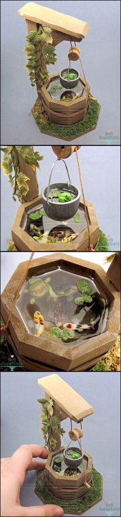 Dollhouse Scale Miniature Well Pond by Bon-AppetEats on DeviantArt-no tutorial but inspiring! Fairy Furniture, Miniature Furniture, Miniature Fairy Gardens, Miniature Dolls, Miniture Things, Fairy Houses, Resin Crafts, Dollhouse Miniatures, Minis