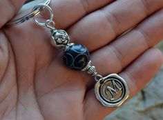 Personalized Wax Seal Initial Key Chain with HAND by LKArtChic