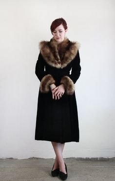LUXE 40s Fur and Velvet Opera Coat - Decadent by VeraVague