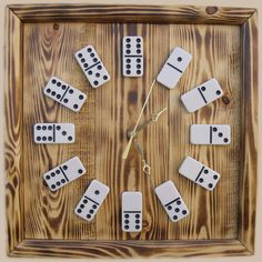 Small Square Burnedwood Domino Clock by ATM | SOURCE: http://dominoclocks.com/store/category/8t70.26/Clocks.html