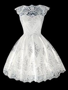 Moda gola redonda Manga Lace A-Line Dress For Women