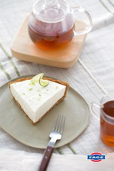 This recipe for Key Lime Pie made with FAGE Total is a little slice of heaven. Yogurt Recipes, Baking Recipes, Dessert Recipes, Desserts, Key Lime Pie, Greek Yogurt Dessert, Keylime Pie Recipe, Yogurt Popsicles, Yogurt Smoothies