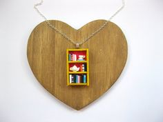 Tea Shop Bookshelf Necklace - Book Jewelry by Coryographies (Made to Order)