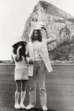 """Yoko Ono and John Lennon married in Gibraltar, in a three minute ceremony on Friday, 21 March 1969.  This was the Beatle's second marriage and his wife's third.  John described the wedding as such, """"It was all very quick, quiet and British."""""""