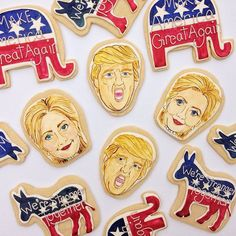 Election cookies! Are you voting today? Painted with natural food coloring. #trump #hillary #election2016 #election #vote @instagram #instagram #ElectionCookies #CookieDEcorating #PortraitCookies #PaintedCookie
