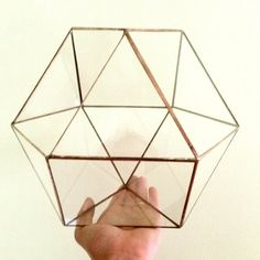 TONS of room to fit BOTH hands inside at once and plant:) - This SUPER sized geometric glass terrarium can have soil added and house your larger