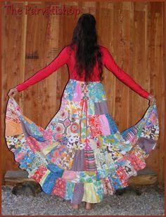 Maxi Robe gitane boheme hippie boho maxi dress upcycled ecofrendly patchwork de la boutique theparvatishop sur Etsy