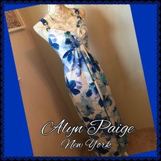 Beautiful Blue Maxi Dress Re-Posh, I love this dress but it is unfortunately too small for me. Polyester and spandex, easy care, beautiful blues. Alyn Paige Dresses Maxi