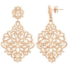 18k Rose Gold Over Silver Floral Filigree Drop Earrings (Pink) ($80) ❤ liked on Polyvore