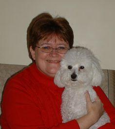Author Deborah Hale and bichon Button