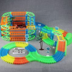 DIY Glow Racing Track Set Toy Universal Accessories For Magic Track Educational Rail Car Toy Racing Kids Toys Children Oyuncak.