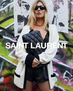 SAINT LAURENT SPRING 2021 AD CAMPAIGN #YSL #saintlaurent #yvessaintlaurent #katemoss #ysl38 Kate Moss, Rock Street Style, Juergen Teller, Black And White Cardigans, Serge Gainsbourg, Campaign Fashion, Anthony Vaccarello, Black And White Portraits, Fashion Labels