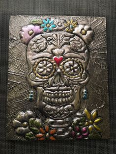 Day Of The Dead Wall Art day of the dead art frida kahlo art - embossed metal wall art