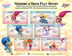 Shimmer and Shine Play Money, Party Printables, Printable Games, Printables Favors, Pretend Money Shimmer And Shine Games, Shimmer N Shine, Diy Eid Cards, Printable Play Money, Shopkins And Shoppies, Monopoly Money, Space Theme, Party Favor Bags, Credit Cards