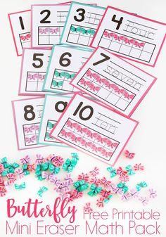 Butterfly Mini Eraser Math Activities for Preschoolers