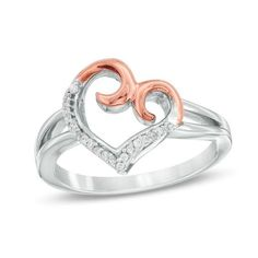 Zales 1/10 CT. T.w. Diamond Triple Heart Ring in Sterling Silver and 10K Rose Gold p0VSGZt
