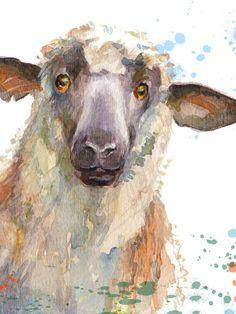 Color Me Sheep Art Print Print from my original watercolor Sheep Paintings, Animal Paintings, Watercolor Animals, Watercolor Paintings, Painting Canvas, Watercolour, Sheep Face, Ecole Art, Illustrations