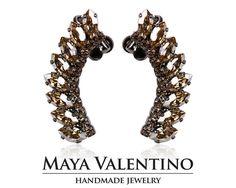 Crystal ear cuff Ruthenium ear cuff Small elegant by MayaValentino Bride Earrings, Topaz Earrings, Prom Jewelry, Bridesmaid Jewelry, Climbing Earrings, Jewelry Trends, Handmade Jewelry, Climber, Bridal