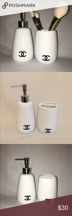 Chanel vanity pump & cup set Chanel vanity set , with cc logo , handmade pieces compliments most decor . This is a set of 2  which is 1 cup & 1 pump dispenser, lotion or soap . CHANEL Other