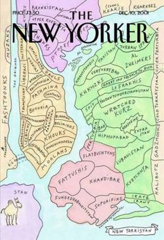 "The New Yorker 10 December, 2001) Ironica map of New York ""with the names of the New York area in the Middle East style. The map corresponds to a figure of ""Seeing the world from 9th Avenue"" cover from The New Yorker dated 29 March 1976 (4 seat of the list)."