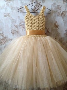 20  off couponcodeFIRSTPURCHASE Gold flower girl tutu by Qt2t