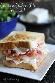For Day 8 of National Grilled Cheese Month, you MUST try the Grilled Chicken Cordon Bleu Sandwich! Texas Toast, spread with softened Cream Cheese, layered with Chicken, Ham, Swiss Cheese and Bacon. Yum. grill the sandwich after assembling it, for a warm, delicious treat. Like it really crispy? I do. Perfect for your panini press...