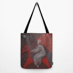 Red Horse, redhaired woman, magic night forest, folk art Tote Bag by Clipso-Callipso | Society6