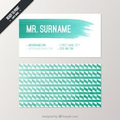 Watercolor business card in geometric style Free Vector