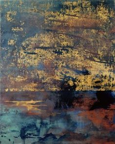 "Makoto Fujimura, ""Olana-Matthew Six"", mineral pigments,gold on Kumohada"