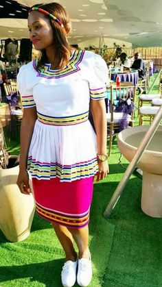 African Wedding Dress, African Print Dresses, African Print Fashion, African Fashion Dresses, African Dress, African Weddings, Pedi Traditional Attire, Sepedi Traditional Dresses, African Attire