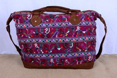 Large Marooon Guatemalan Leather and Colorful by mezoCULTURE
