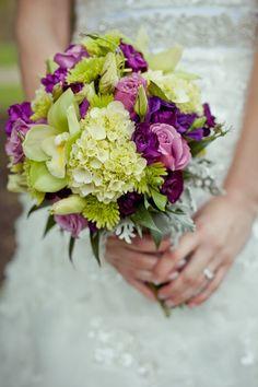 #lime #green #purple #bride #bouquet