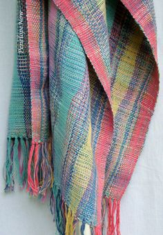 Handwoven Multicolour  Silk Scarf/ Shawl / Wrap OOAK. $190.00, via Etsy.