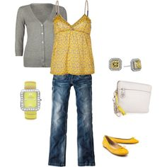 Love the yellow and grey. Not real crazy about the shoes or watch.