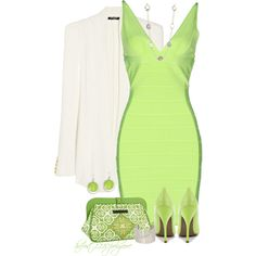* Go Lime Green with HERVE LEGER *, created by hrfost1210 on Polyvore