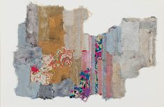 Geta Bra ̆tescu, Vestigii, 1978. textile collage on paper, 13.78 x 19.7 inches.