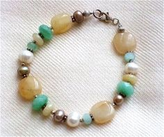 Freshwater white tan pearls candy jade by westlakebeads on Etsy, $55.00
