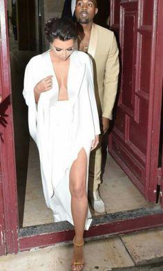 All white. Kim Kardashian
