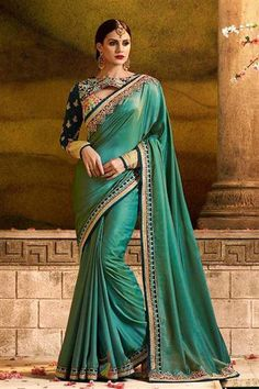 Light Green Embroidered Silk Bollywood Saree With Blouse f7710a1cb