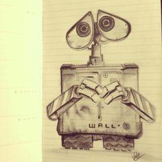wall e doodle on moleskine